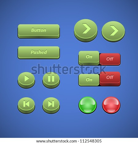 Raised Buttons Green And Red UI Controls Web Elements: Buttons, Switchers, On, Off, Player, Audio, Video: Play, Stop, Next, Pause, Arrows - stock vector