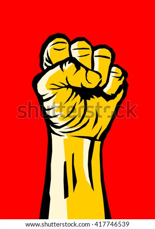 Raised clenched fist - symbol of revolution and uprising against oppression and injustice. Yellow vector illustration in comics style on red background  - stock vector
