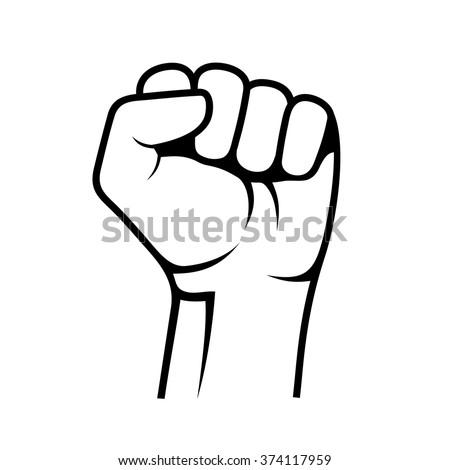 Raised Fist on White Background. Vector - stock vector