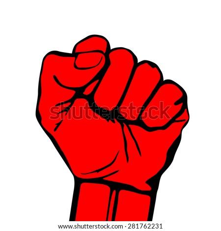 Raised fist vector icon art  hand protest graffiti strike fight - stock vector