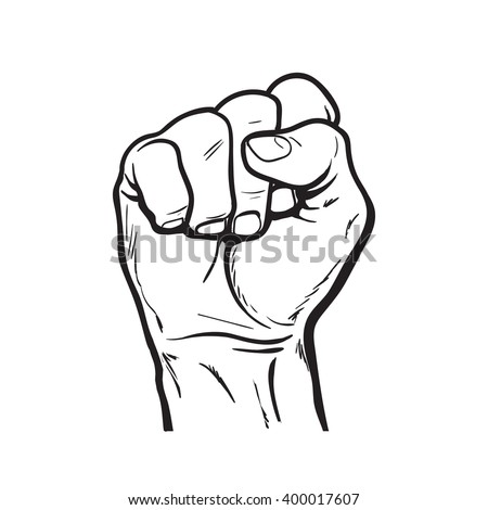 Raised hand showing a fist a symbol of strength and superiority success struggle