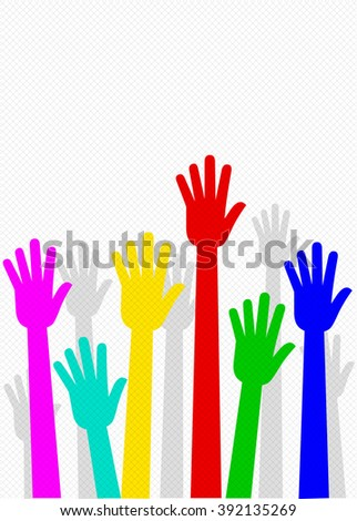 Raised Hands, Helping Hands, Team Work, Collaboration - Illustration