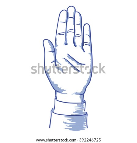 raised his left hand up vote blue vector illustration