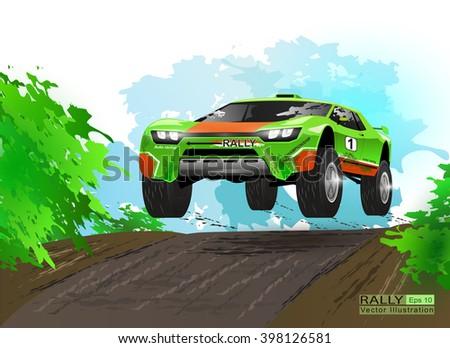 Rally championship.  Vector Rallying green car. Off-road rally. - stock vector