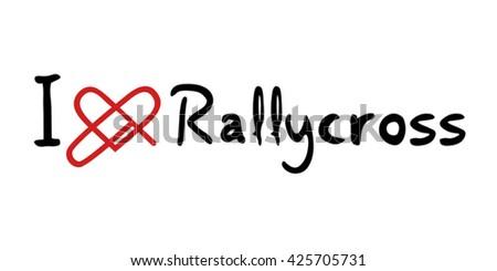 Rally cross love icon - stock vector