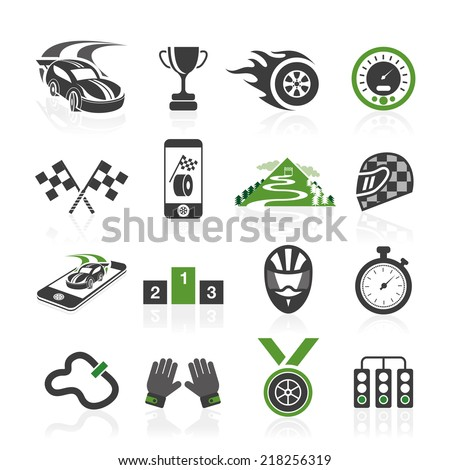 Rally icon set, sports icons - stock vector