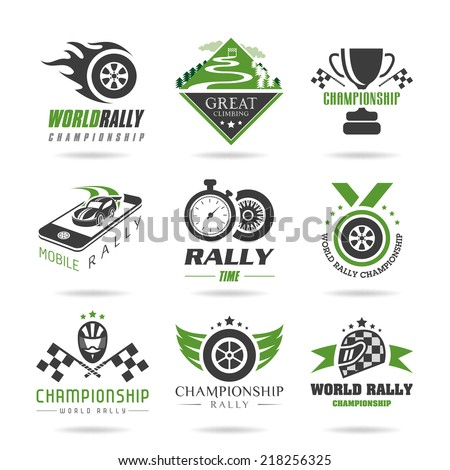Rally icon set, sports icons - 3 - stock vector