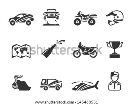 Rally related icons in single color - stock vector