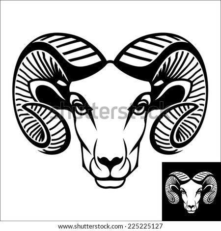 ram head logo icon black white stock vector 225225127 - shutterstock