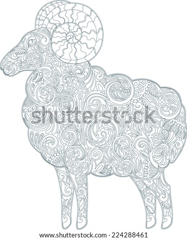 Ram (outline) - stock vector