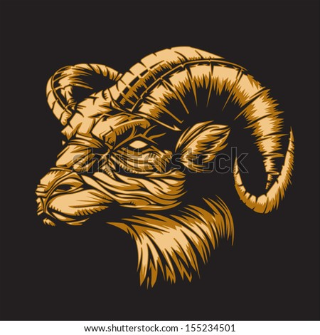 Ram with a black background representing Aries zodiac sign or just a sharp vector graphic for general use. Layered and easy to edit. - stock vector