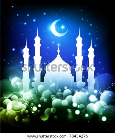 Ramadan background - mosque silhouette and crescent moon at night - blue and green colors - stock vector