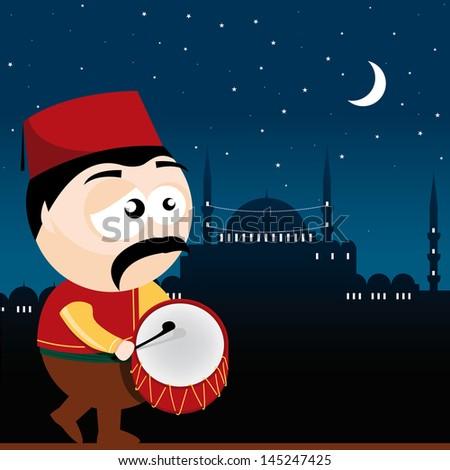 ramadan drummer - stock vector