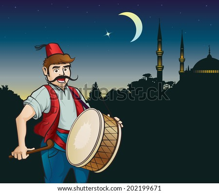 Ramadan drummer, night, the moon and a mosque - stock vector
