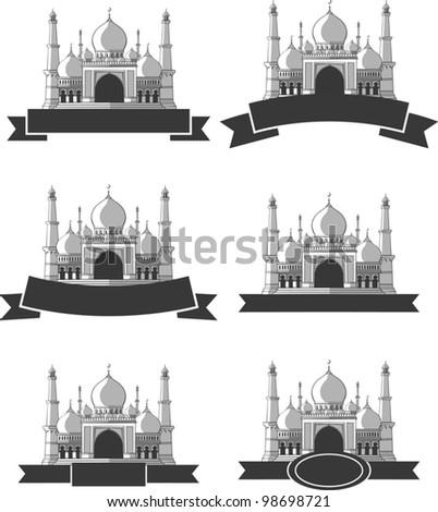 Ramadan & Eid Mubarak Greeting - Masjid Banner - stock vector