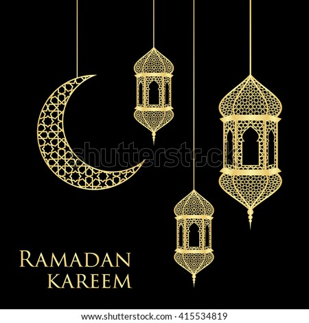 Ramadan greeting card on black background. Vector illustration. Ramadan Kareem means Ramadan is generous.