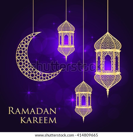 Ramadan greeting card on violet background. Vector illustration. Ramadan Kareem means Ramadan is generous.