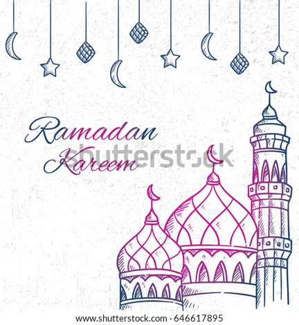 Ramadan greeting card with hand drawn mosque on grunge background