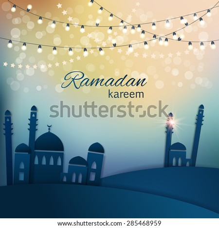 Ramadan greetings background. View of mosque in  blue night background with shiny lights. Vector illustration - stock vector