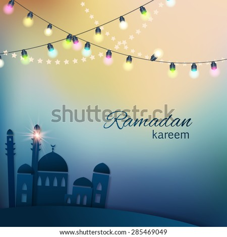 Ramadan greetings background. View of mosque in shiny blue night background with colorful lights. Vector illustration - stock vector