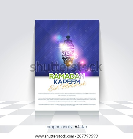 "Ramadan Kareem A4 Style Flyer, Brochure - Latern Illustration, Islamic Holy Nights Theme Vector Design - Arabic ""Eid Mubarak"", ""be Blessed"" at English - stock vector"