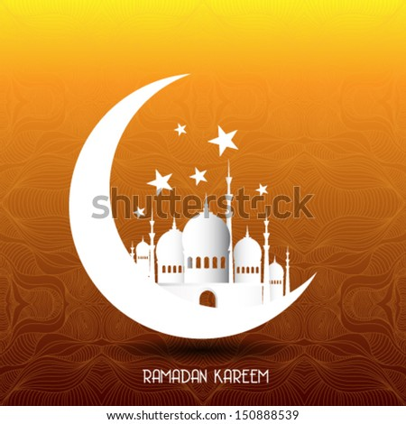 Ramadan Kareem background with 3d paper - stock vector