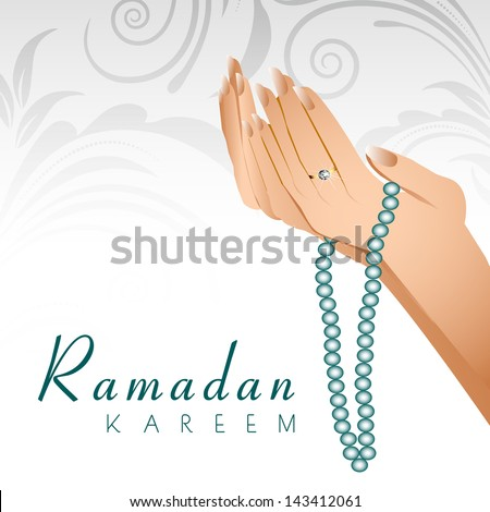 Ramadan Kareem background with female human hands holding rosary and praying(reading Namaz, Islamic Prayer) on floral decorated grey background. - stock vector