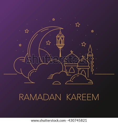 Ramadan Kareem background with moon, stars, lantern, mosque in the clouds. Ramadan mubarak Greeting card, invitation for muslim community. Kadir Gecesi Vector illustration in mono line style.  - stock vector