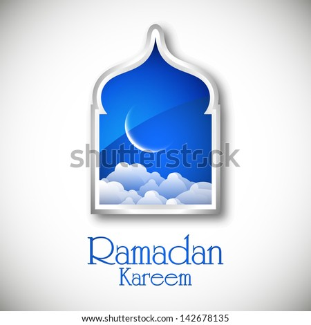 Ramadan Kareem background with view of shiny moon in blue night from window. - stock vector