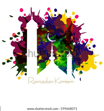 Ramadan kareem card with nice grungy colorful mosque and white Background vector - stock vector