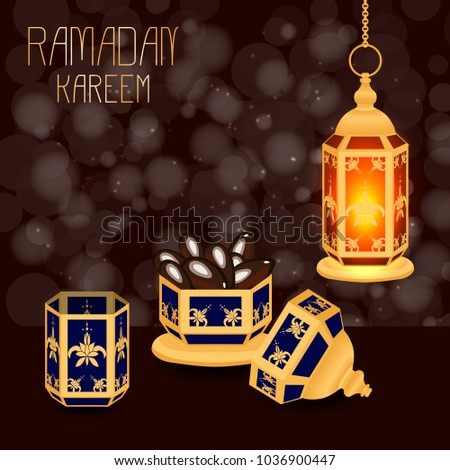 Ramadan Kareem. Concept of a Islamic holiday. Lamp shines, a vase with dates, a glass of water. On a brown background with blur