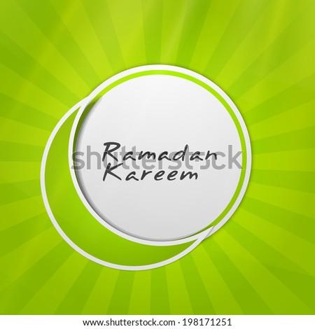 Ramadan Kareem concept with moon on green background. - stock vector