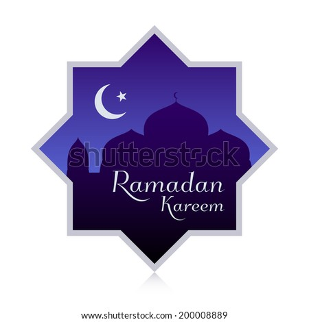 Ramadan Kareem design showing mosque silhouette with moon and stars. - stock vector