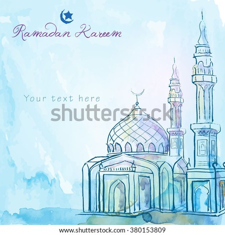 Ramadan Kareem greeting background mosque watercolor sketch - Translation of text : Ramadan Kareem - May Generosity Bless you during the holy month - stock vector