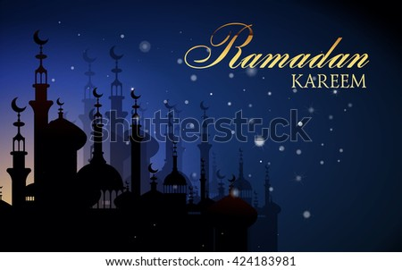 Ramadan Kareem greeting background with night sky and bright moon. Vector Illustration.  Illustration  of muslim holy month with mosque building. Ramadan. Eid Mubarak. Eid Mubarak. - stock vector