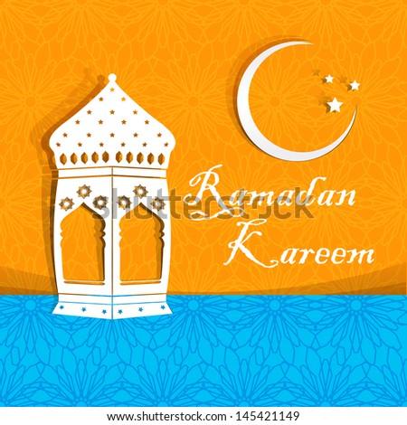Ramadan Kareem greeting card / Arabic lamp on orange & blue background for Ramadan Kareem. - stock vector