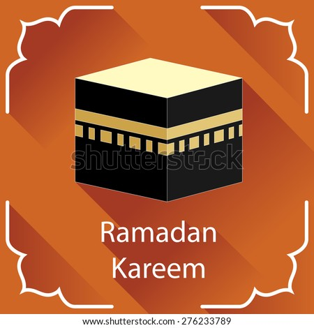 Ramadan Kareem greeting card. Islamic design element. Kaaba vector illustration. - stock vector