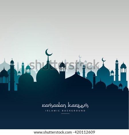 ramadan kareem greeting card with mosques - stock vector