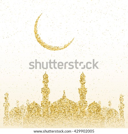 Ramadan Kareem greeting. Golden sand of stars and moon. Mosque of gold glitter particles. Vector sketch illustration.