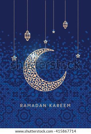 Ramadan kareem greetings card floral crescent stock vector 415867714 ramadan kareem greetings card with floral crescent traditional islamic background ocher on blue m4hsunfo