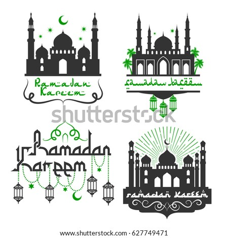 Ramadan kareem greetings muslim religious holiday stock vector ramadan kareem greetings for muslim religious holiday celebration vector icons set with mosque minarets m4hsunfo