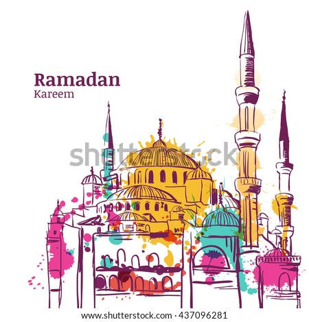 Ramadan Kareem holiday design. Watercolor sketch illustration of mosque. Vector ramadan holiday watercolor background. Greeting card or banner for muslim holiday. - stock vector