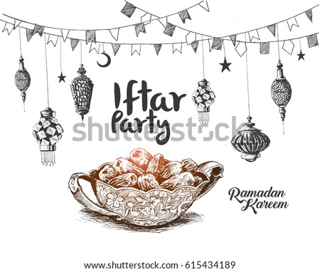 Ramadan Kareem Iftar party celebration, Hand Drawn Sketch Vector illustration.