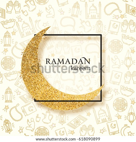 Ramadan Kareem illustration with golden paper moon on a line icons background.  Vector design template for greetings card, poster, banner, invitation.