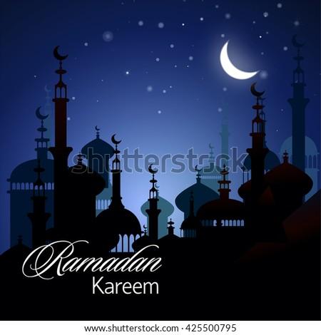 Ramadan Kareem islamic background. Eid mubarak. Islam holly month. Vector illustration of eastern night landscape. Ramadan greeting template. Arabic design. Midnight muslim architecture. - stock vector