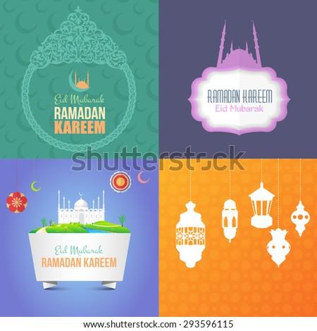 "Ramadan Kareem, Islamic Concept Background Set. Vector Design - Arabic ""Eid Mubarak"", ""be Blessed"" at English - stock vector"
