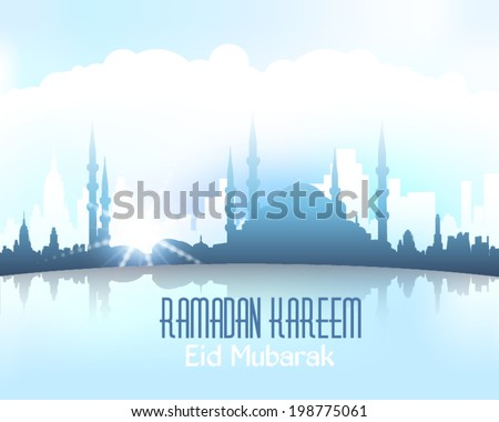 "Ramadan Kareem - Islamic Holy Nights Theme Vector Design - Arabic ""Eid Mubarak"", ""be Blessed"" at English - stock vector"