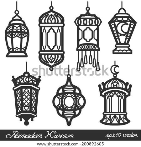 Ramadan Kareem Lantern Black - stock vector