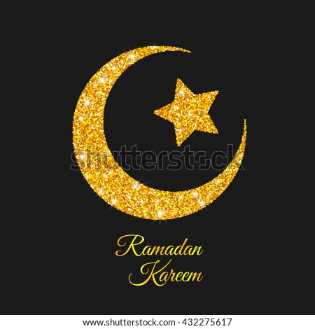 Ramadan Kareem Ramadan Moon Golden Crescent Stock Vector Royalty