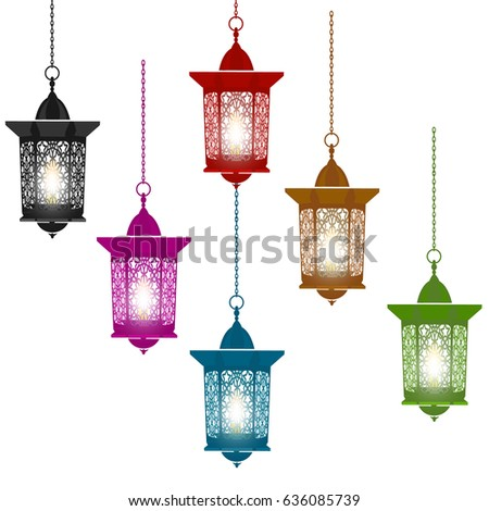 Ramadan Kareem. Six multicolored lanterns in oriental style hang on chains. Isolated on white background. Vector illustration